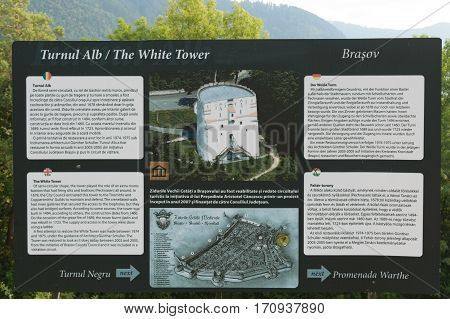 Brasov, Transylvania, Romania - September 22 2016 : Brasov White Tower Touristic info panel circa 2016