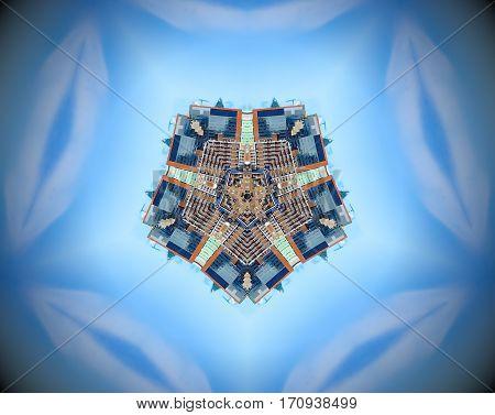Abstract City Pentagon Mirror