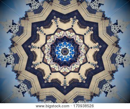 Abstract City Mirror Mandala