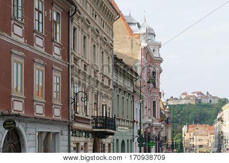Brasov, Transylvania, Romania - September 22 2016 : Architectural buildings in Brasov circa 2016