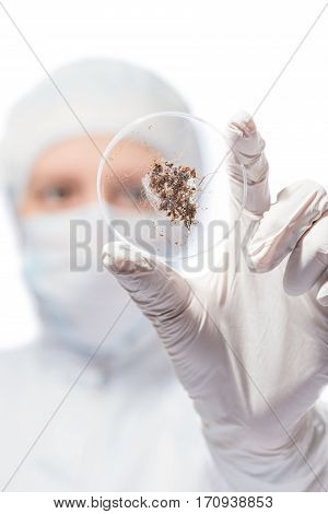 Flask With Soil Sample In The Hands Of The Ecologist Biologist Closeup