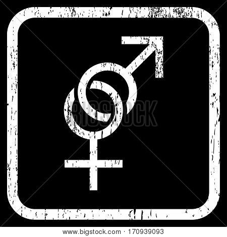 Sex Symbol rubber watermark. Vector icon symbol inside rounded rectangle with grunge design and dirty texture. Stamp seal illustration. Unclean white ink sign on a black background.