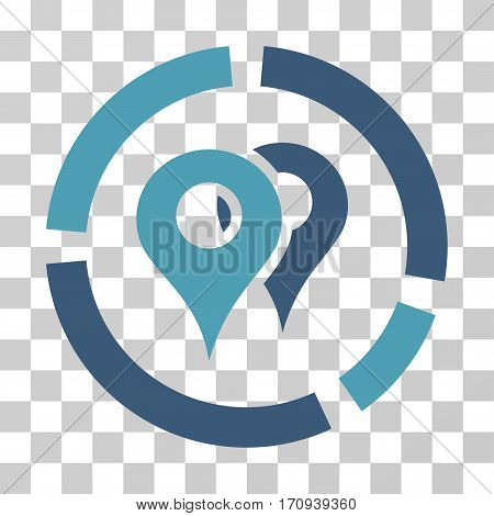 Geo Diagram icon. Vector illustration style is flat iconic bicolor symbol cyan and blue colors transparent background. Designed for web and software interfaces.