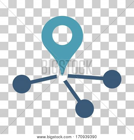 Geo Network icon. Vector illustration style is flat iconic bicolor symbol cyan and blue colors transparent background. Designed for web and software interfaces.