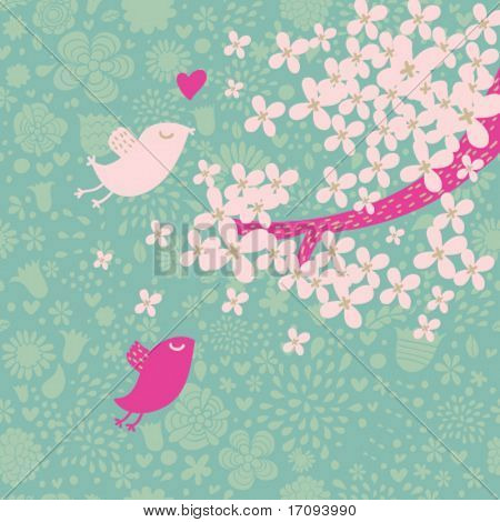 Spring time romantic vector pattern