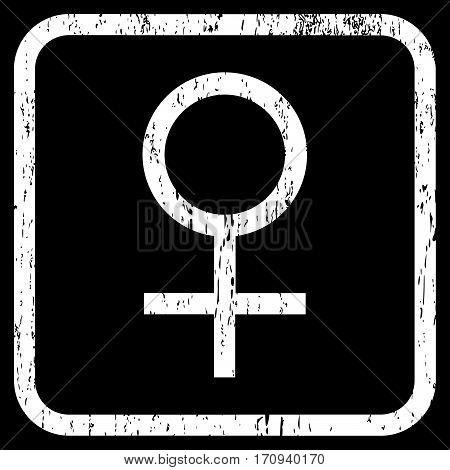Venus Female Symbol rubber watermark. Vector pictogram symbol inside rounded rectangular frame with grunge design and scratched texture. Stamp seal illustration.
