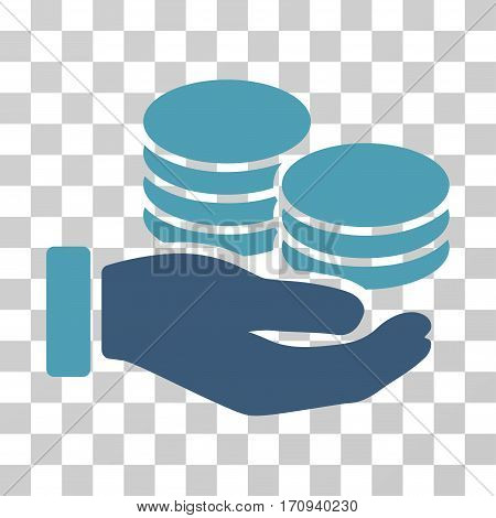 Salary Hand icon. Vector illustration style is flat iconic bicolor symbol cyan and blue colors transparent background. Designed for web and software interfaces.