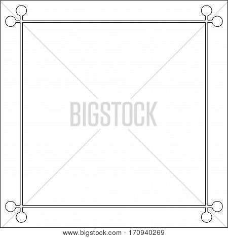 Mid century 50s frame photo border line page, vector pattern vintage simple