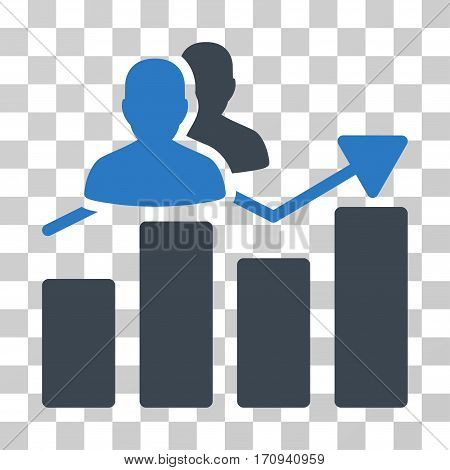 Audience Graph icon. Vector illustration style is flat iconic bicolor symbol smooth blue colors transparent background. Designed for web and software interfaces.