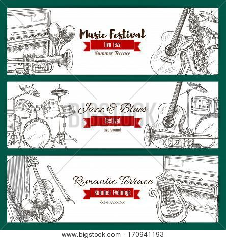 Jazz and blues live music festival banner set with music instrument sketches. Guitar, piano, drum, saxophone, trumpet, harp, maracas, lyre with ribbon banner for poster and flyer design