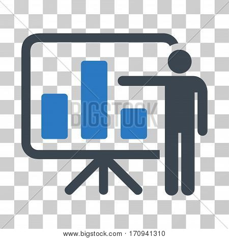 Bar Chart Presentation icon. Vector illustration style is flat iconic bicolor symbol smooth blue colors transparent background. Designed for web and software interfaces.