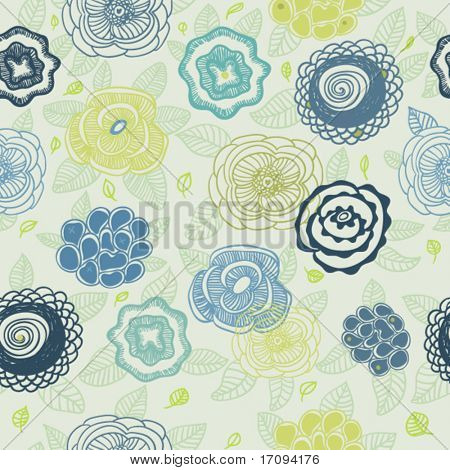 Stylish vector floral pattern with cute flowers