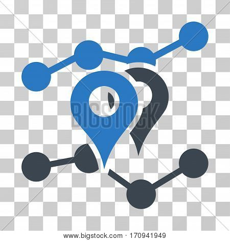 Geo Trends icon. Vector illustration style is flat iconic bicolor symbol smooth blue colors transparent background. Designed for web and software interfaces.