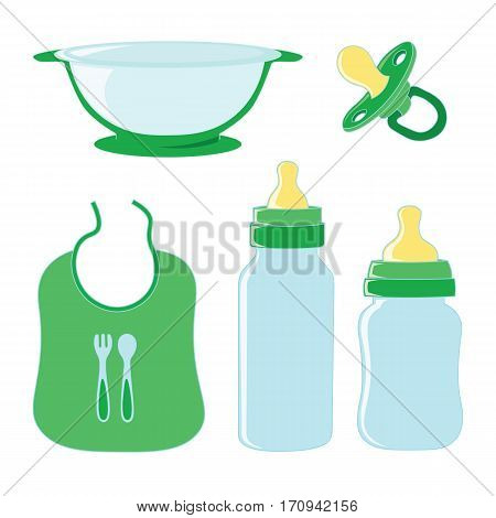 Set of dishes for food and pacifier for baby.