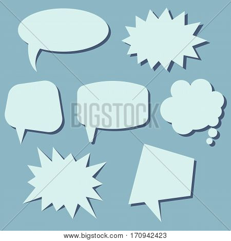 Set of speech bubbles on a blue background. Speech bubbles without phrases. Vector illustration.