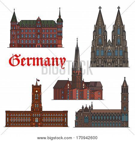 German travel landmark thin line icon set with architectural heritage of Germany. Cologne Cathedral, St. Lambert Church, Town Hall, Rotes Rathaus and Magdeburg Cathedral for travel design