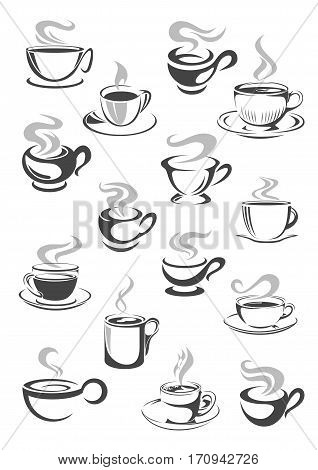 Coffee cup and tea mug icon set. Cup of hot beverage with espresso, cappuccino, mocha, chocolate or tea drinks with saucer and swirls of steam. Cafe or coffee shop menu, drink themes design