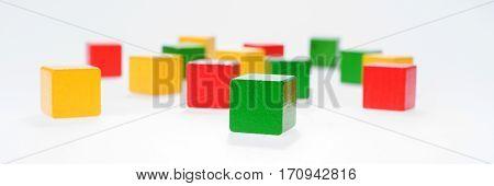 Multicolor wooden building bricks, wooden toys blocks