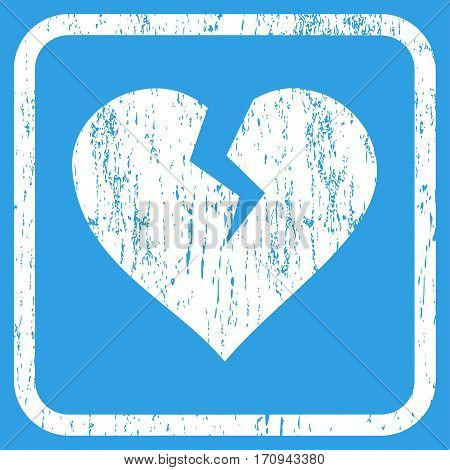 Heart Break rubber watermark. Vector pictogram symbol inside rounded rectangle with grunge design and dirty texture. Stamp seal illustration. Unclean white ink sign on a blue background.