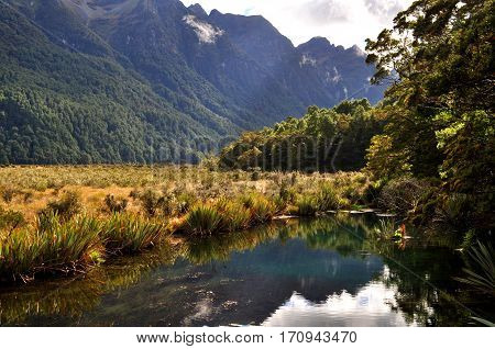 Reflection in Mirror Lake close to Milford Sound, New Zealand