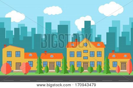 Vector city with cartoon houses and buildings with red and green trees and shrubs. City space with road on flat style background concept. Summer urban landscape. Street view with cityscape on a background