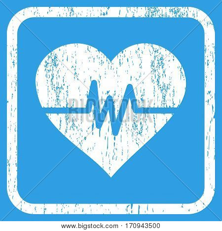 Heart Pulse rubber watermark. Vector pictogram symbol inside rounded rectangular frame with grunge design and scratched texture. Stamp seal illustration. Unclean white ink emblem on a blue background.