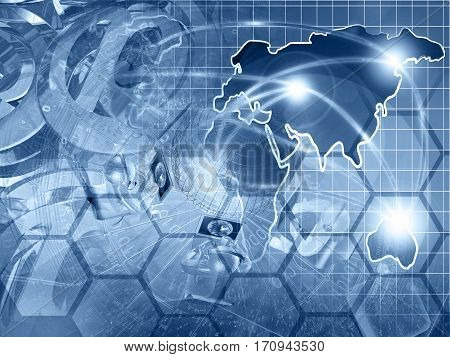Computer background in blues with globe map mans and mail symbols.
