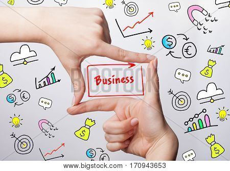 Technology, Internet, Business And Marketing. Young Business Woman Writing Word: Business