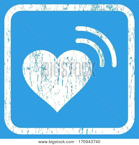 Heart Radio Signal rubber watermark. Vector icon symbol inside rounded rectangular frame with grunge design and unclean texture. Stamp seal illustration. Unclean white ink emblem on a blue background.
