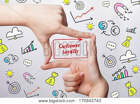 Technology, Internet, Business And Marketing. Young Business Woman Writing Word: Customer Loyalty