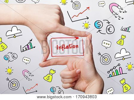 Technology, Internet, Business And Marketing. Young Business Woman Writing Word: Inflation