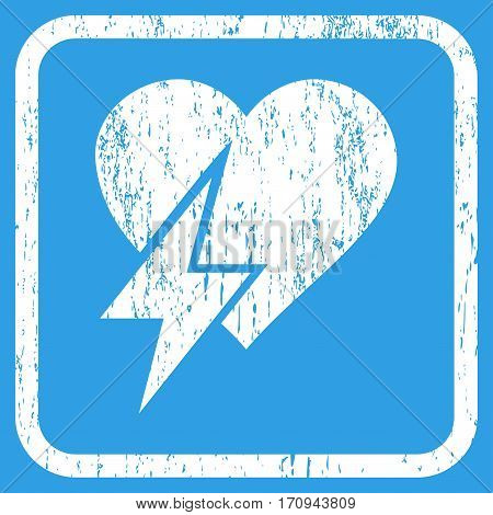 Heart Shock rubber watermark. Vector icon symbol inside rounded rectangular frame with grunge design and scratched texture. Stamp seal illustration. Unclean white ink emblem on a blue background.