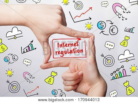 Technology, Internet, Business And Marketing. Young Business Woman Writing Word: Internet Regulation