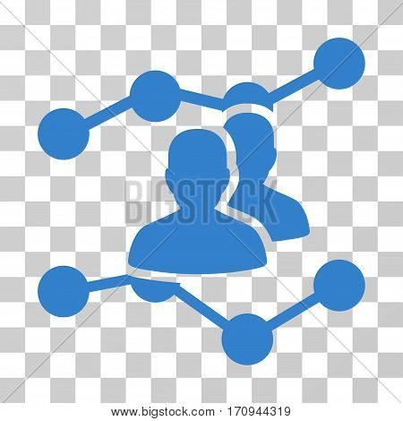Audience Trends icon. Vector illustration style is flat iconic symbol cobalt color transparent background. Designed for web and software interfaces.