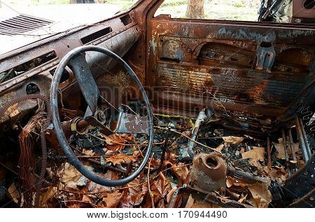 Car Burned, Abandoned And Rusty
