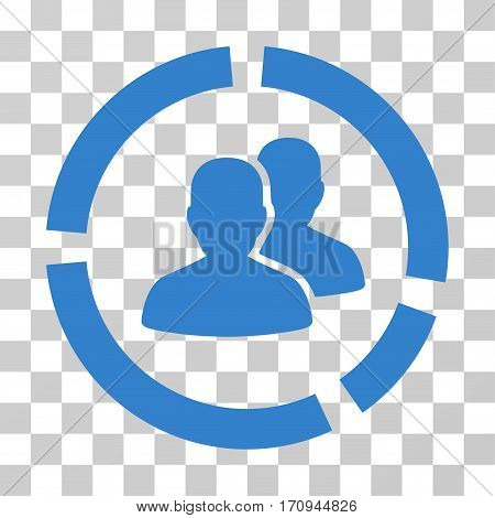 Demography Diagram icon. Vector illustration style is flat iconic symbol cobalt color transparent background. Designed for web and software interfaces.