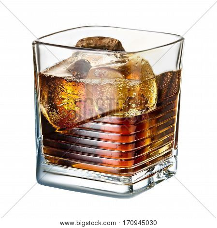 classic alcohol cocktail whiskey cola with ice isolated on white background