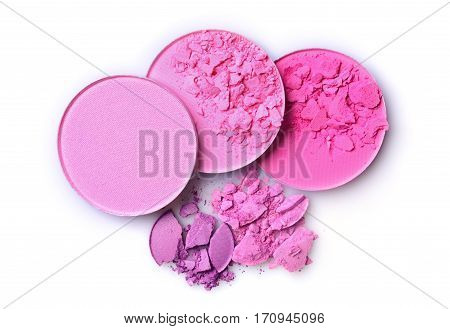 Round Pink Crashed Blusher And Eyeshadow For Makeup As Sample Of Cosmetic Product