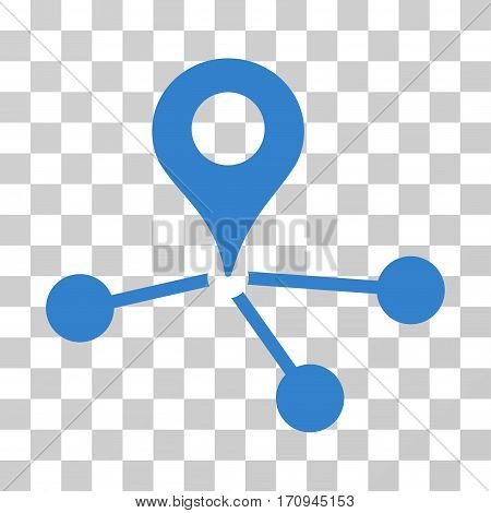 Geo Network icon. Vector illustration style is flat iconic symbol cobalt color transparent background. Designed for web and software interfaces.