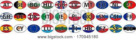 flags of the country of the EU oval sticker vector with the abbreviated name of the state iso code the domain name of the country