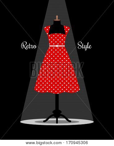 Retro red dress on manikin under projector light. Vector illustration