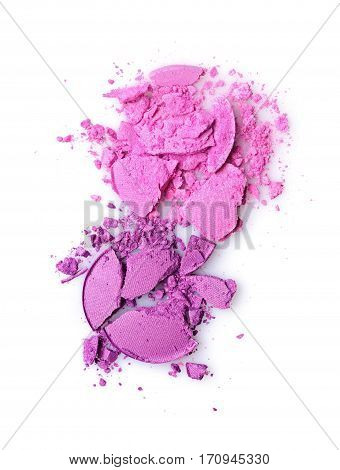 Round purple crashed eyeshadow for make up as sample of cosmetic product isolated on white background