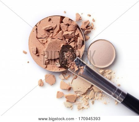 Round Beige Crashed Face Powder And Eyeshadow With Brush For Makeup As Sample Of Cosmetic Product