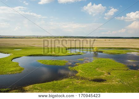 Field flooded with water. Dry grass and fresh foliage, puddle and land, water-filled growing green grass and trees. Luxury scenery of river with green shores. Nature concept