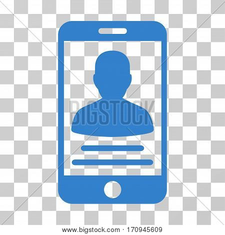 Mobile Account icon. Vector illustration style is flat iconic symbol cobalt color transparent background. Designed for web and software interfaces.