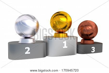 3D illustration of Basketball Podium with Gold Silver and Bronze Trophy with white background