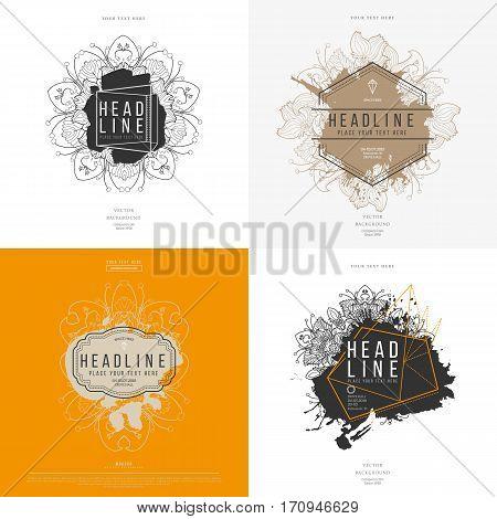 Set of modern abstract hand drawn floral splash label with lettering. Hand drawn labels. Sign label, textured emblem. Vector illustration