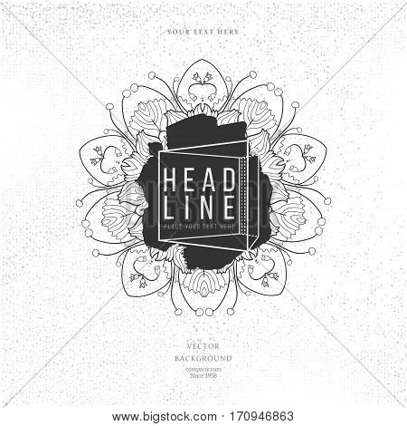 Modern abstract hand drawn floral splash label with lettering on white background. Hand drawn label. Sign label, textured emblem. Vector illustration