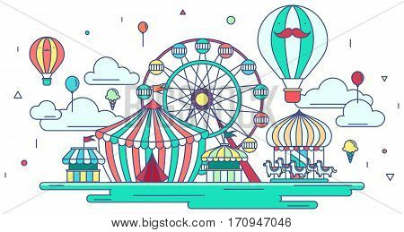 Flat line amusement park or theme park graphic design in creative advertising banner background. Flat amusement park with entertainment concept in isolated background create by vector