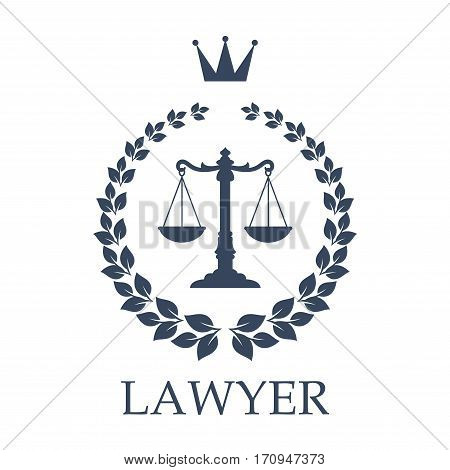 Law firm isolated emblem. Lawyer office sign with scales of justice framed by heraldic laurel wreath with crown on the top. Lawyer services symbol or legal firm badge design